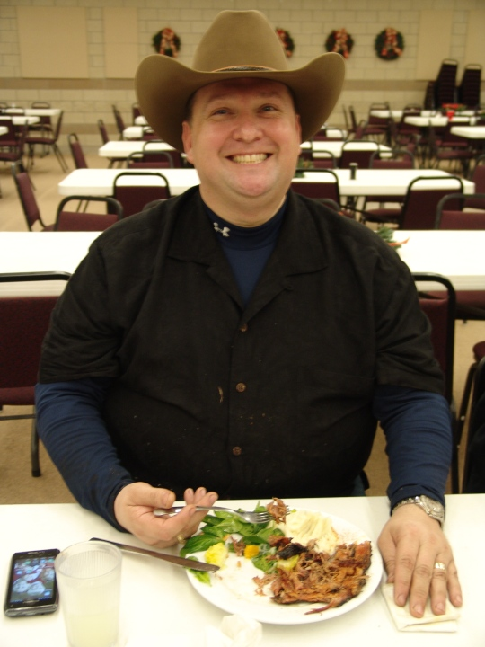 Tony finally gets to eat dinner!  Thanks for all your hard work Tony!