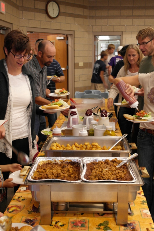 Baked beans, tater tots, burgers and the new salad dressing containers for the salad bar.