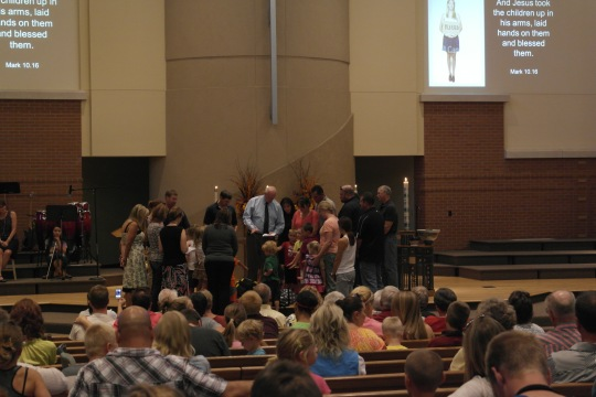 "At worship tonight after dinner, the kindergartens had a Milestone ""Blessing of the Backpacks"" for the beginning of school."