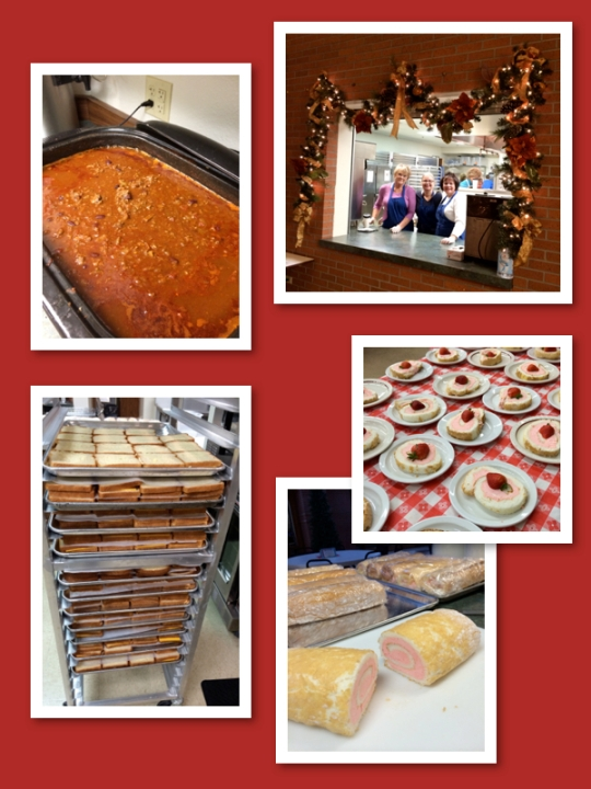 The kitchen crew made 10 roasters full of chili, 8 gallons of tomato soup, 480 grilled cheese sandwiches, and 48 angel food cake rolls.
