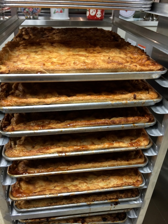 After baking, we load them up on the baker's rack to cool.