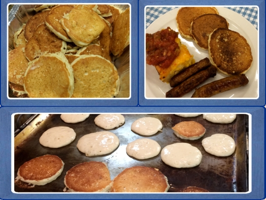 Pancakes, Mexican Quiche and Sausage Links