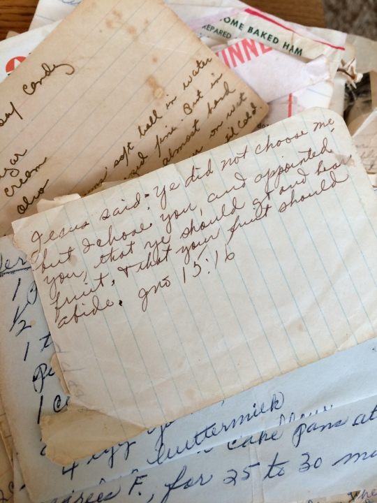 While looking for recipes in my grandmother's recipe box, I found a bible verse tucked into the middle of the chaos of recipes. God speaks where you least expect it.