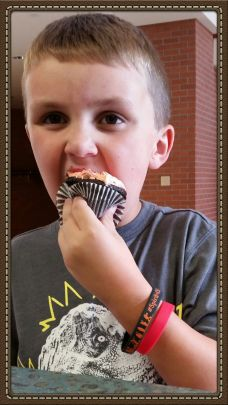 Tuesday morning tasting volunteer gives the cupcakes a thumbs up